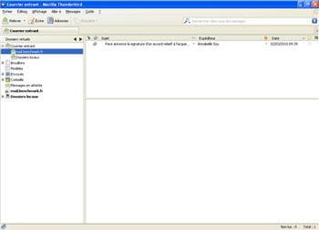 capture d'écran du logiciel thunderbird 3.0.3 sous windows xp.