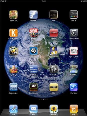 le menu principal de l'ipad, sensiblement identique à celui de l'iphone os.