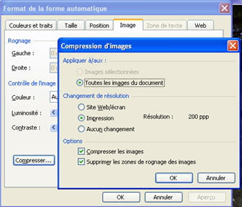l'option de compression des images sous powerpoint