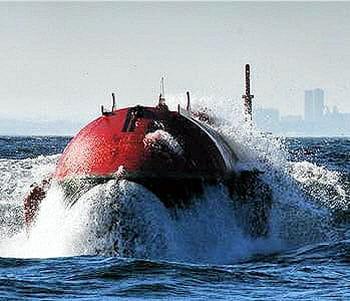 l'énergie des vagues est captée puis transformée en électricité par ce