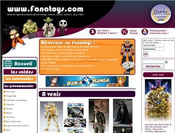 home page du site fanatoys.com