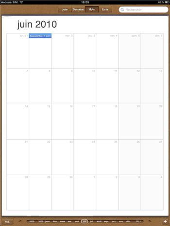la vue d'ensemble du calendrier inclus dans l'ipad