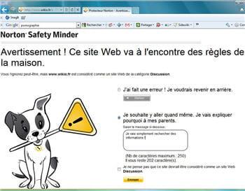 l'enfant sait arrive sur un site normalement interdit, il a la possibilité de