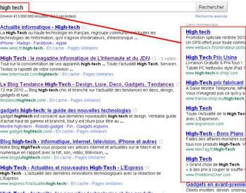 un exemple basique du ciblage des publicités google