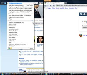 a gauche, la barre d'adresse et de navigation d'internet explorer 9, à droite