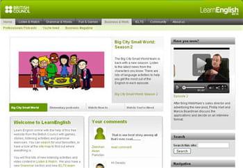 copie d'écran du site learn english du british council.