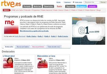copie d'écran de la rubrique podcast du site de la rtve.