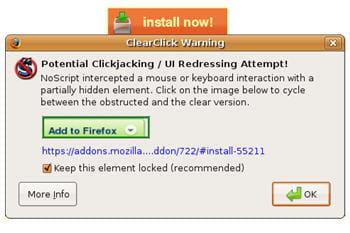 copie d'écran du module noscript