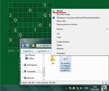 copie d'écran de l'option pour lire une image iso dans l'explorateur windows.