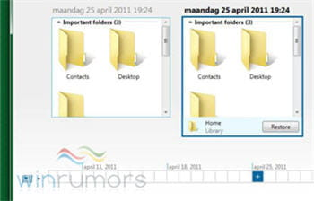 copie d'cran de la fonction history vault sous windows 8 pr-bta 