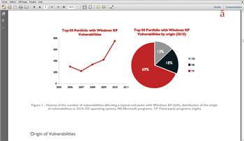 copie d'écran d'un document pdf (rapport bi-annuel de secunia sur les failles