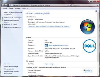 les informations systèmes sous windows 7.