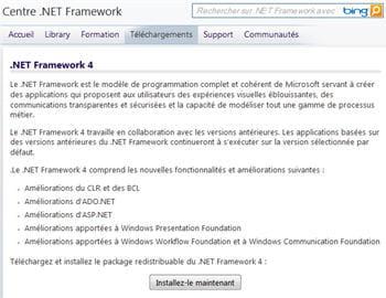 copie d'écran de la page de téléchargement officielle du framework .net.