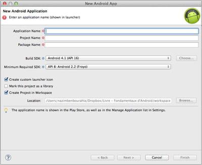 interface d'eclipse de création d'une nouvelle application.