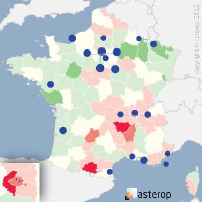 les cercles bleus représentent les 20 premiers pôles commerciaux du secteur. la