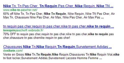 les trois premiers sites générés par google sur la requête 'nike tn requin'