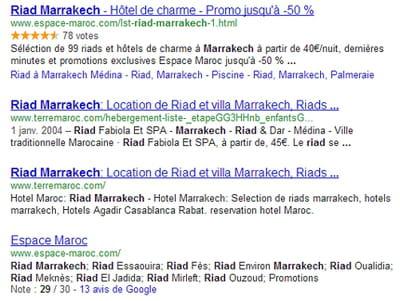sur les quatre premiers résultats générés par google sur 'riad marrakech', il