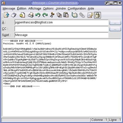 exemple d'un e-mail chiffré avec openpgp