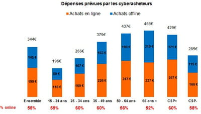 répartition online/offline des dépenses prévues par les cyberacheteurs pour noël