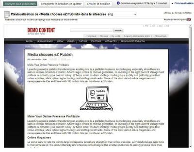 prévisualisation en back-office d'un contenu sous ez publish.