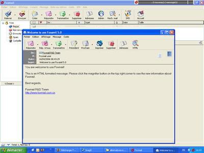 l'interface sobre de foxmail