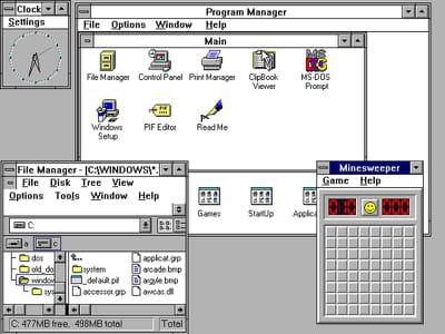 quelques fenêtres de windows 3.1.