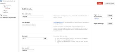 exemple de la balise d'universal analytics mise en place sur un site grâce à