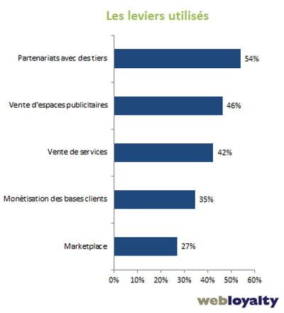 leviers de monétisation utilisés par les sites marchands en 2013