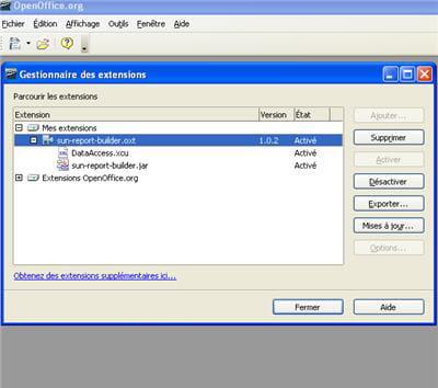 la plupart des extensions disponibles pour openoffice telles sun report builder,