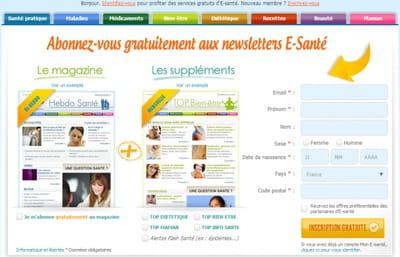 la page originale d'e-santé proposant de s'abonner aux newsletters