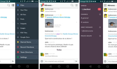captures d'écran de slack sur smartphone.