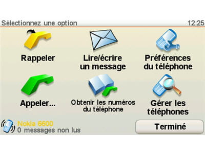 menu de contrôle du téléphone