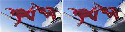 la même image au format jpg, a gauche, à peine compressée pèse 8 ko, à droite