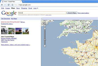 recherche google maps sous le navigateur chrome