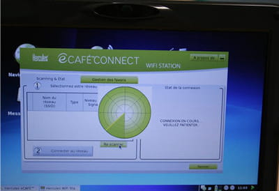 la très simple et pratique interface wi-fi de l'ecafé