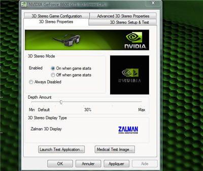 l'écran de contrôle de la 3d