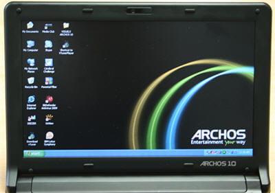 a l'achat, le bureau de l'archos 10 est déjà assez encombré de logiciels