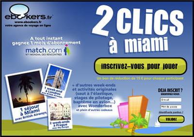 exemple de jeu concours à instant gagnant : le jeu '2 clics à miami' de