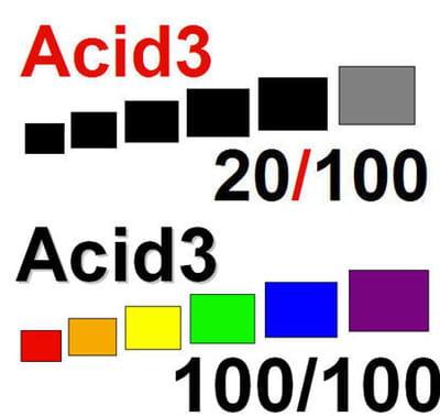 en haut, le test acid3 d'ineternet explorer 8, en bas celui d'opera 10