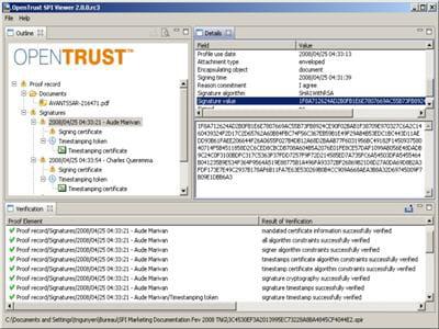 capture d'écran de opentrust spi, outil de gestion de signature électronique