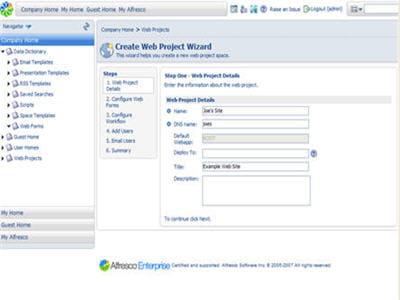 l'interface de la solution alfresco wcm