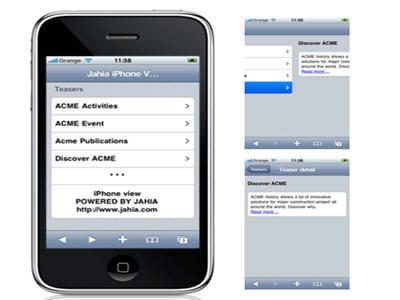 gestion de l'interface du cms jahia sous iphone