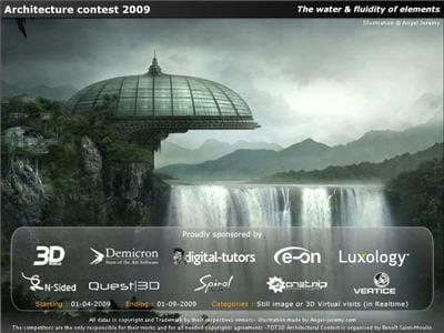 une superbe création numérique pour l'affiche de ce concours d'architecture 3d.