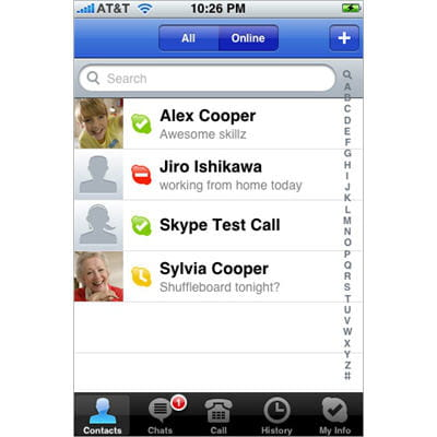 ses contacts skype sur iphone