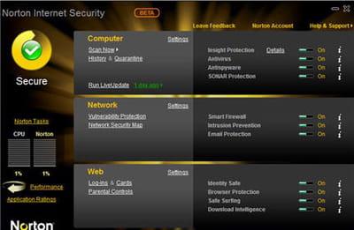 la très chic interface de norton inernet security 2010