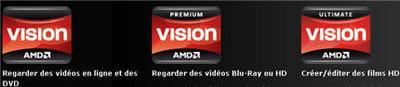 les 3 labels amd vision, pour 3 usages multimédia différent