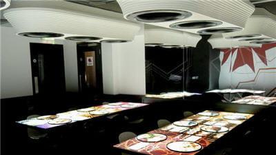 la salle dite bonzai, avec ses tables-écrans.