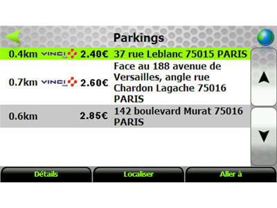 recherche des places de parking à proximité