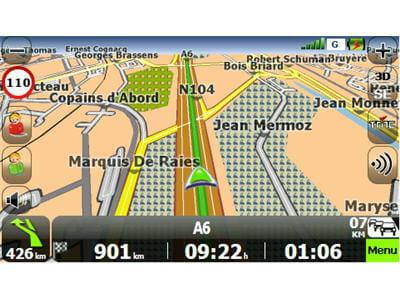 ecran de navigation du gps