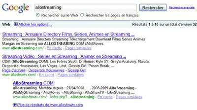 résultats de google pour la requête 'allostreaming'